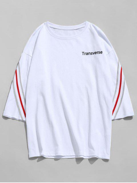 Gestreiftes Baumwoll T-Shirt - Weiß L Mobile