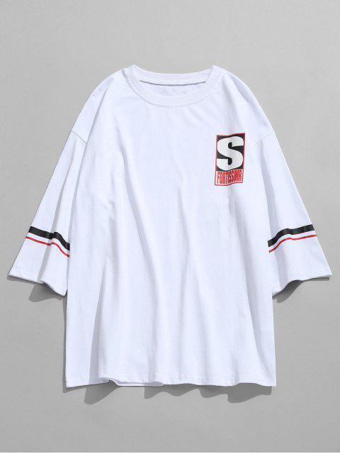 Gedruckter Baumwoll Freizeit T-Shirt - Weiß 2XL Mobile