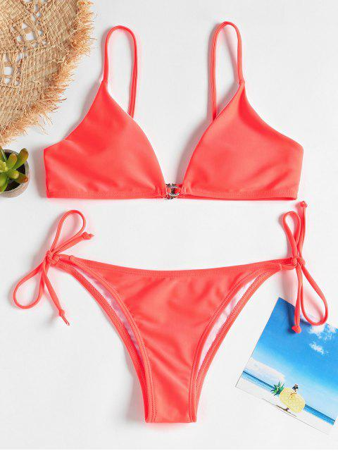 unique Cami Tied String Bikini - LAVA RED M Mobile