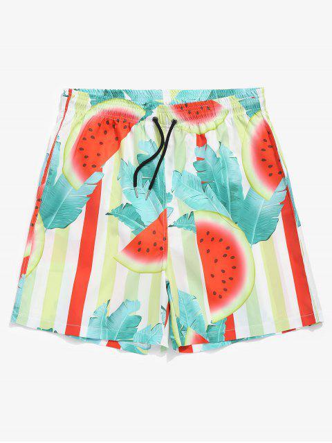 buy Drawstring Watermelon Leaf Swim Trunks - GREEN L Mobile