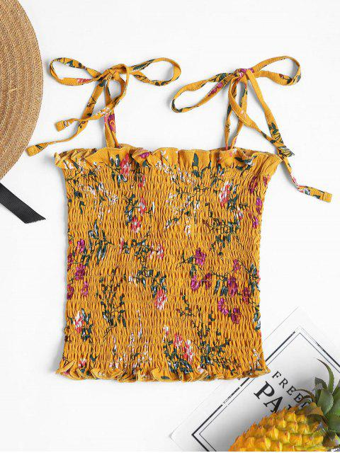 hot Floral Smocked Cami Tank Top - SCHOOL BUS YELLOW M Mobile