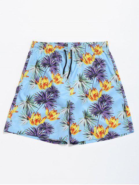 lady Flower Leaf Drawstring Swim Trunks - LIGHT BLUE L Mobile
