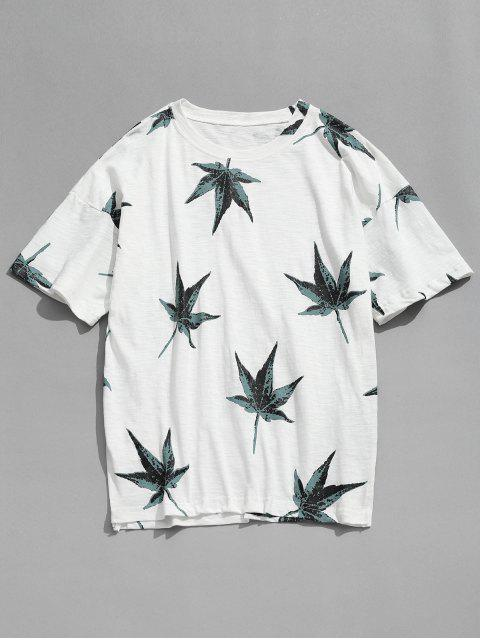 Camiseta de manga corta con estampado de hojas - Blanco S Mobile