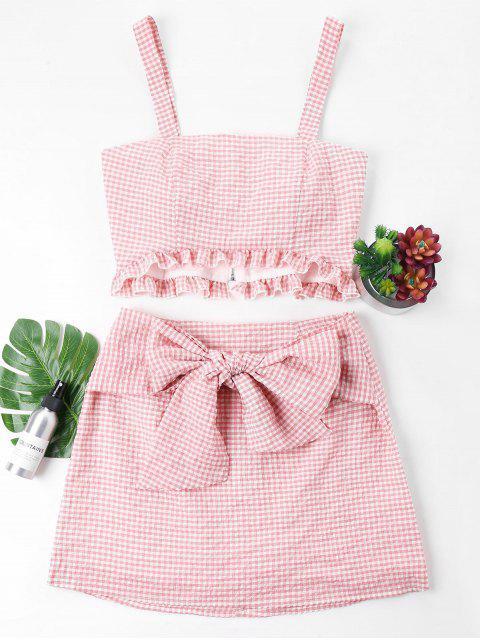 Conjunto de falda top y lazo de guinga - Rosado XL Mobile