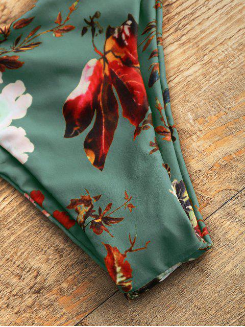 new Strapless Floral High Cut Bikini Set - SEA GREEN L Mobile