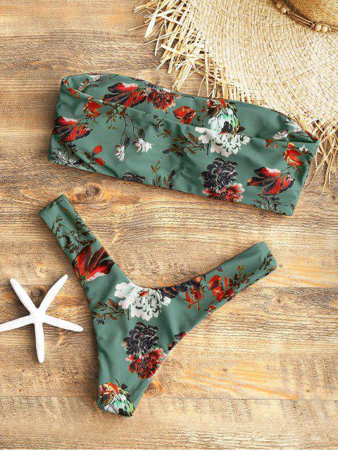 shop Strapless Floral High Cut Bikini Set - SEA GREEN S Mobile