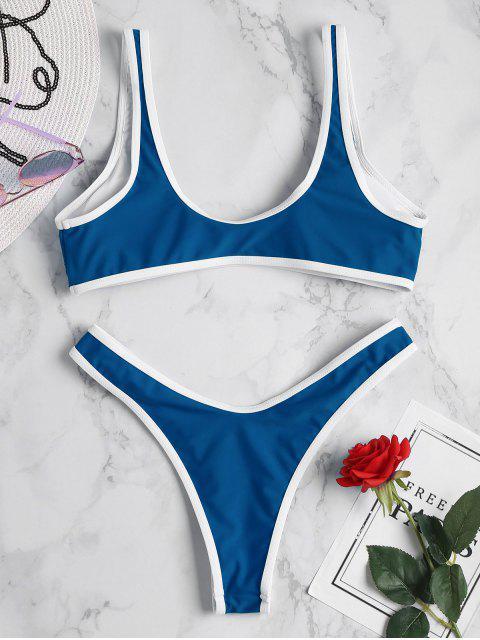 chic Contrast Trim Sport Bikini Set - BLUE EYES L Mobile