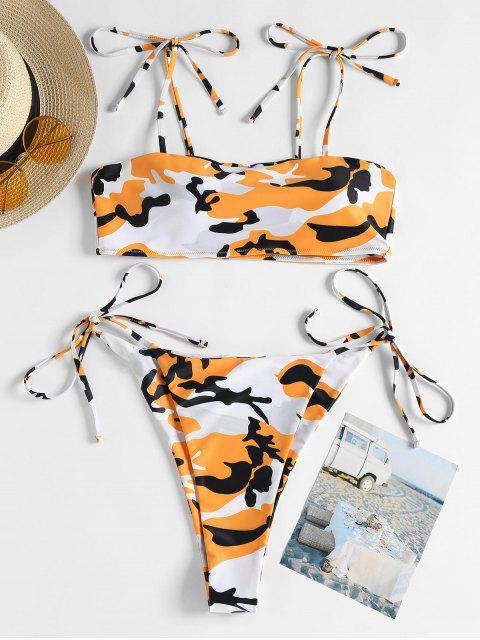 Bikini en Camouflage avec Cordons sur les Côtés - Orange S Mobile