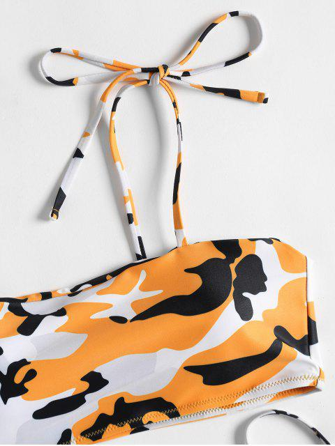 sale Camo Tie Side Bikini - ORANGE L Mobile