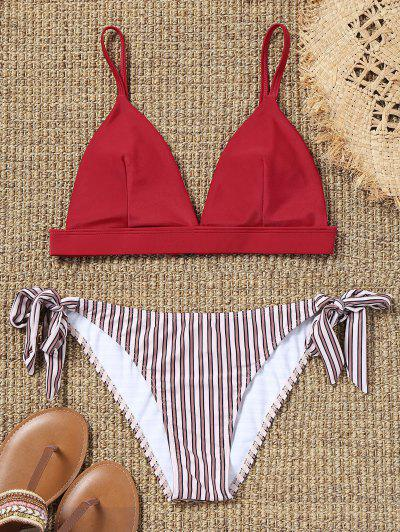 Cami Bra And Striped Tie Side Swim Briefs - Red L