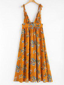 M Cuello Y De Tirantes Naranja Vestido Estampado c7w0Ug7q