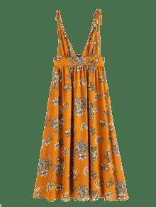 Cuello Vestido Y De M Tirantes Estampado Naranja SxUtZxg