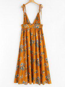 Estampado Vestido Tirantes Y Cuello Naranja M De qZZFrwfIT