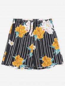 جذوع الرباط الزهور مخطط السباحة - أسود 2xl