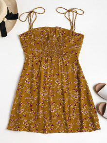 Vestido Florales Anaranjado S De Tirantes Oro Mini fqzSS
