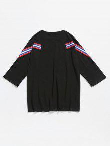 Rayas 2xl 243;n Algod De A Camiseta Con Negro Panel ZwYFq6