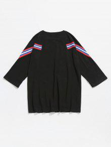 Rayas Negro Algod De Con Camiseta Panel 2xl 243;n A gYpwxq0U