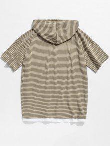 Hombros Camiseta Descubiertos Rayas Con Xl Descubiertos Caqui Hombros Con A Claro Y7YFq