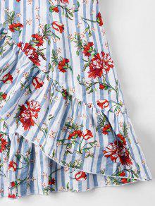 Volados Camisola Claro S Y Con Azul Vestido Volantes Florales wUOExqOda