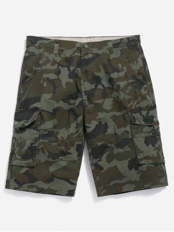 Shorts de carga de camuflagem - Verde de Camuflagem 32