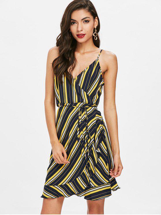 online Striped Ruffle Surplice Dress - DEEP BLUE M