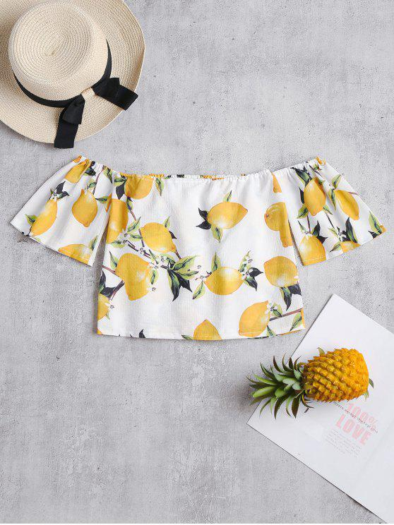 chic Lemon Print Off The Shoulder Crop Top - WHITE M