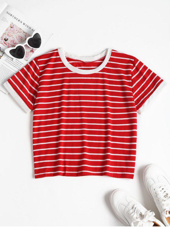 unique Striped Cropped T-Shirt - FIRE ENGINE RED M