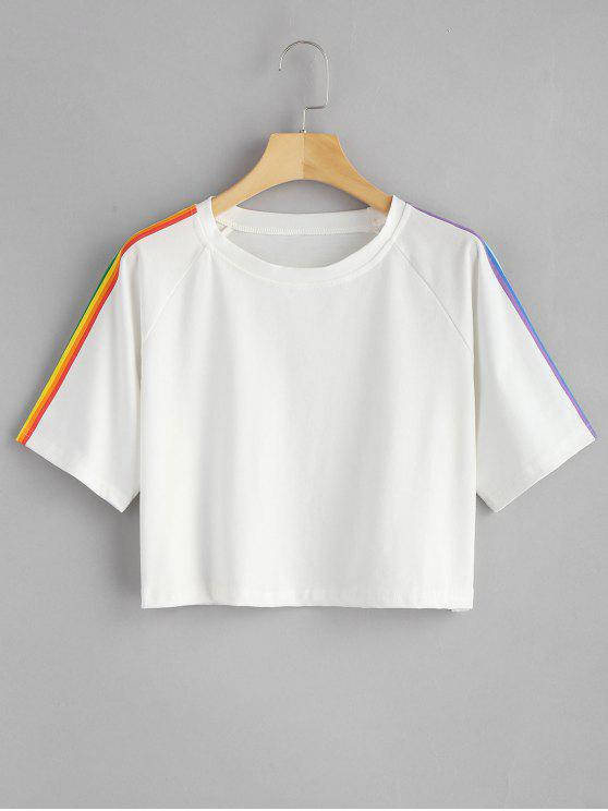 women Rainbow Stripe Oversized Crop Top - WHITE S