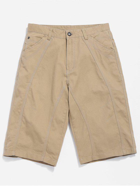 Zip Fly Casual Shorts mit Reißverschluss - Helles Khaki 32