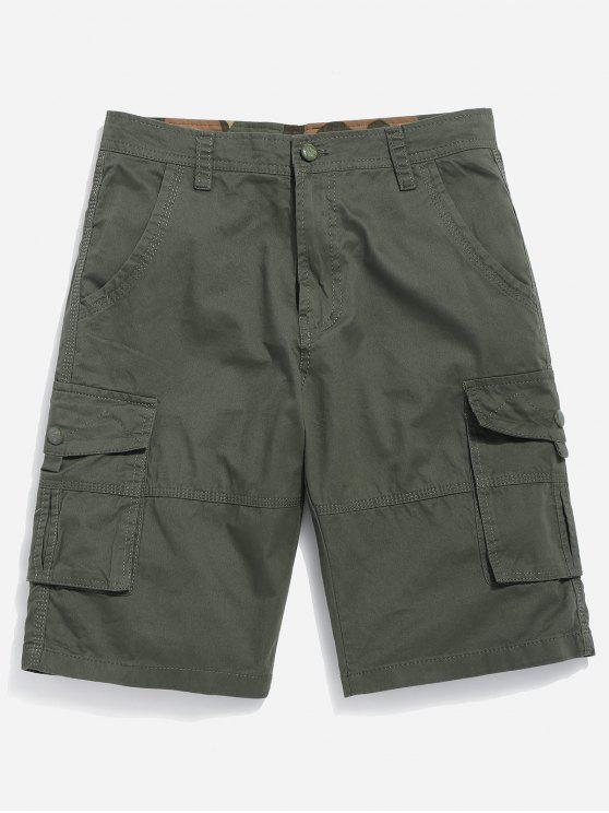 shops Zipper Fly Cargo Shorts - ARMY GREEN 32