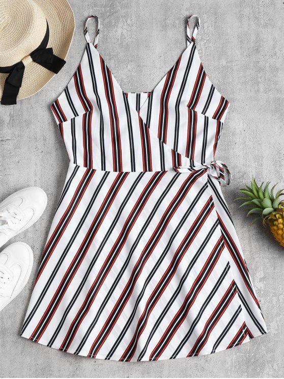 Vestido ajustado a rayas con abertura - Blanco L