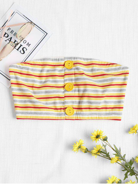 sale Buttoned Striped Bandeau Top - YELLOW L