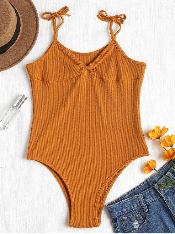 Bodysuit torcido com nervuras - Marrom claro L