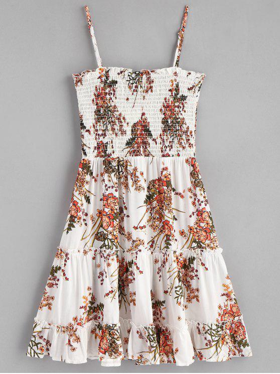 Smocked الأزهار زلة اللباس - أبيض L