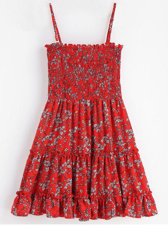 سموكد الأزهار البسيطة اللباس - الكرز الاحمر L