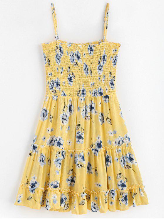 فستان سميث مزين بالزهور - ذرة صفراء M