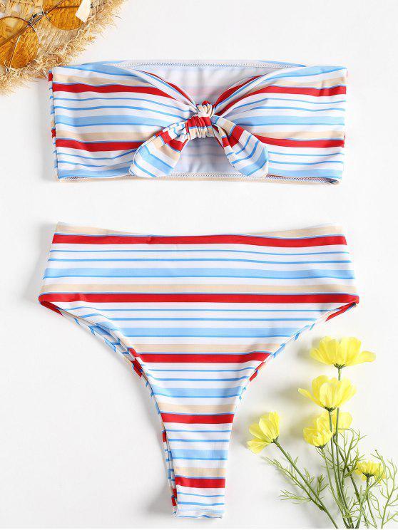 Bikini bandeau con rayas en contraste - Multicolor L