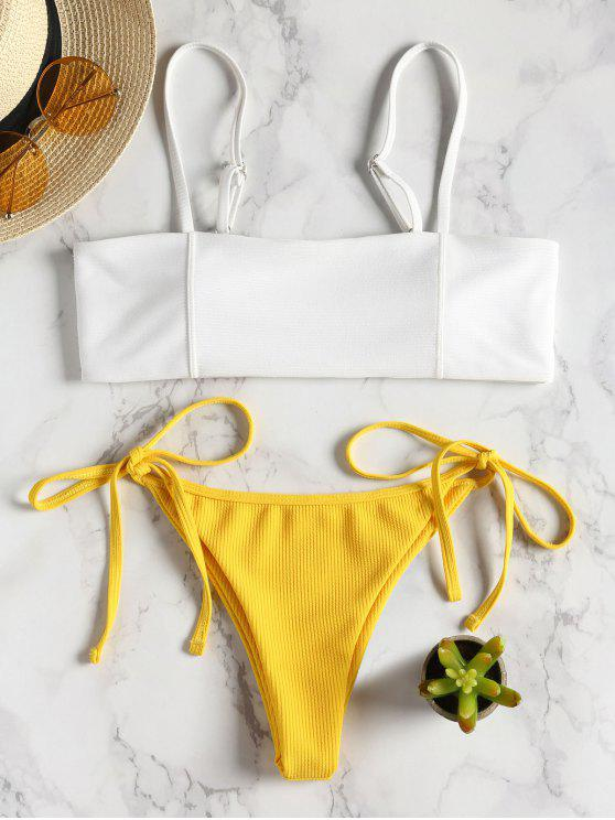 online Two Tone Ribbed String Bikini - BRIGHT YELLOW S