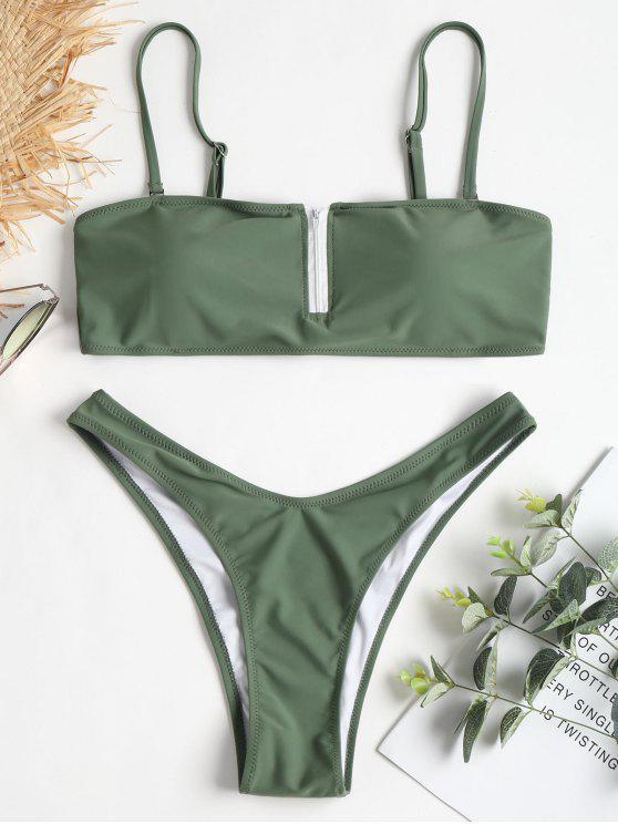 trendy Zip-up High Leg Bikini Set - DARK SEA GREEN L