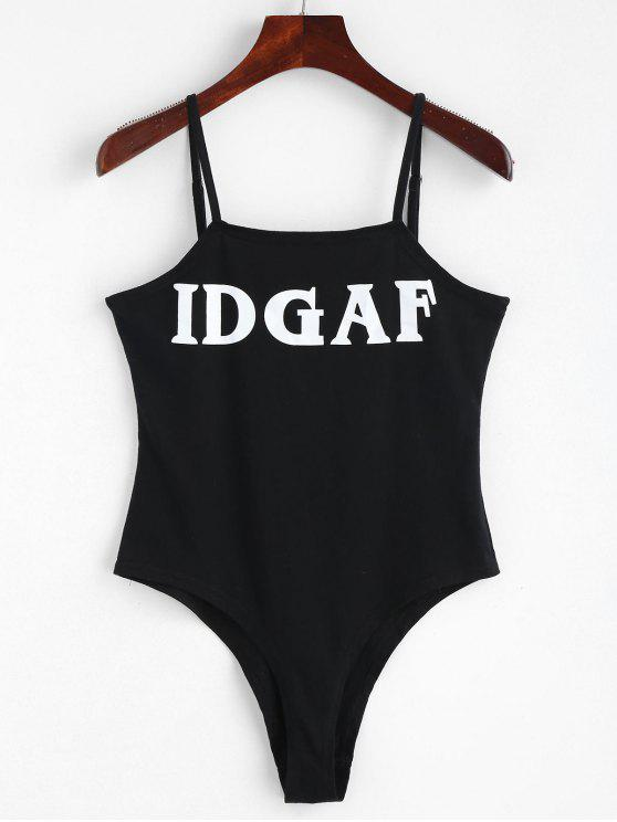 new Letter Slip Bodysuit - BLACK M