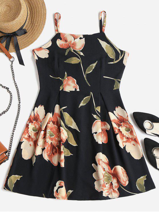 online Floral Print Mini Skater Dress - BLACK XL