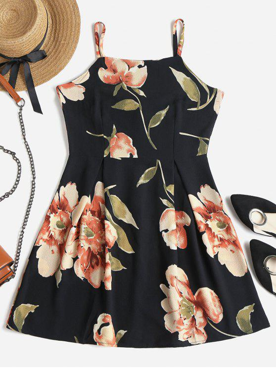 outfit Floral Print Mini Skater Dress - BLACK S