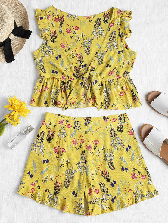womens Tie Front Ruffles Top and Shorts Set - YELLOW M