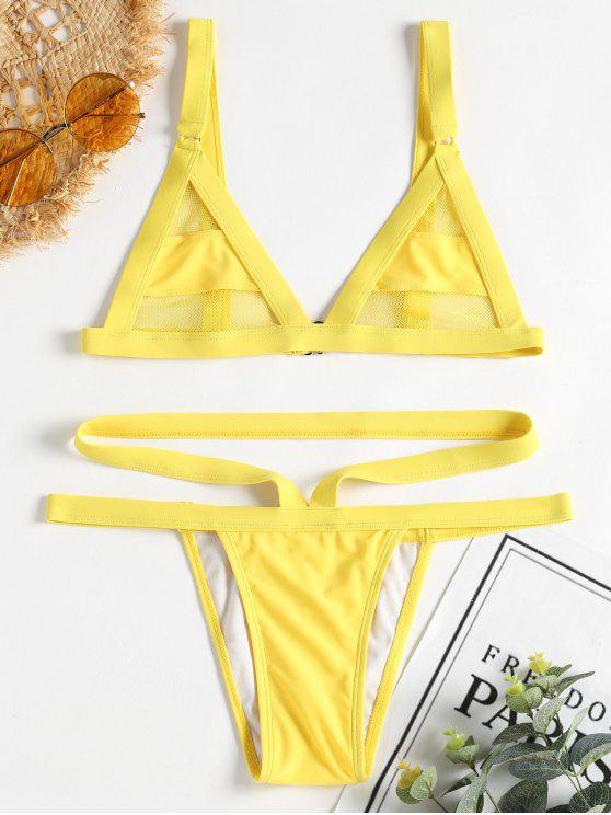 shop ZAFUL Mesh Panel Bandage Bikini - YELLOW L