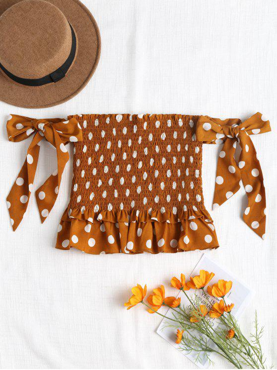 unique Smocked Knotted Top - LIGHT BROWN M
