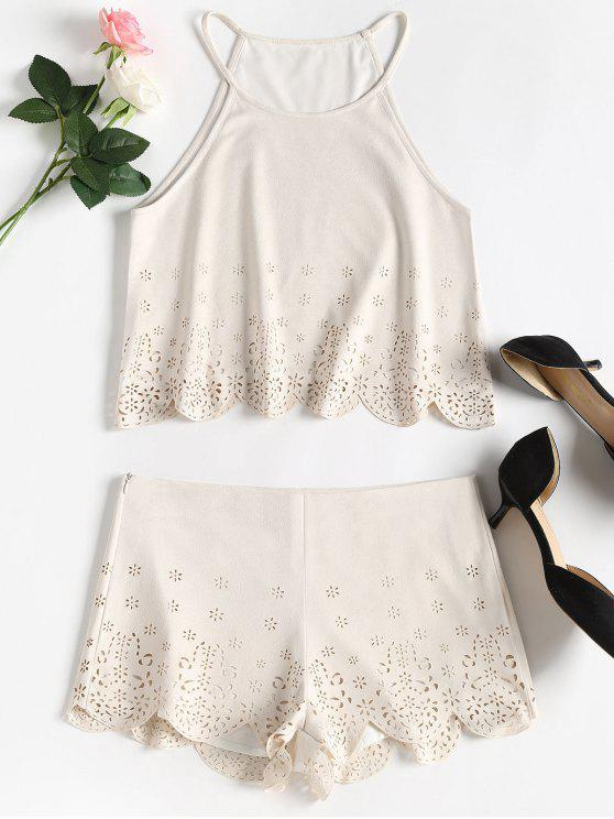 sale Faux Suede Laser Cut Scalloped Matching Set - WARM WHITE M