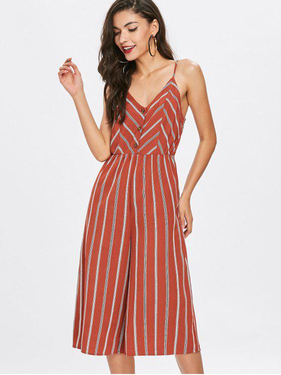 affordable Striped Buttoned Slip Jumpsuit - CHESTNUT RED S