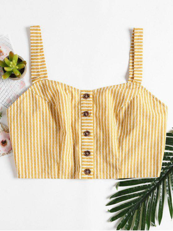 hot Striped Button Up Tank Top - CORN YELLOW L