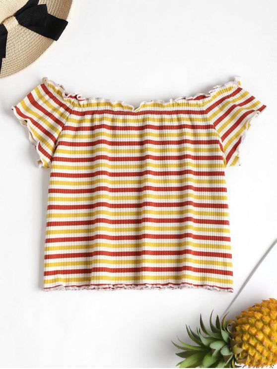 latest Striped Ribbed Off The Shoulder Top - MULTI S