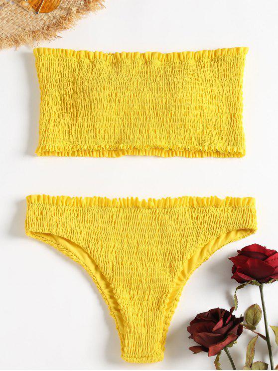 Smocked Volant Bandeau Bikini Set - Gelb S